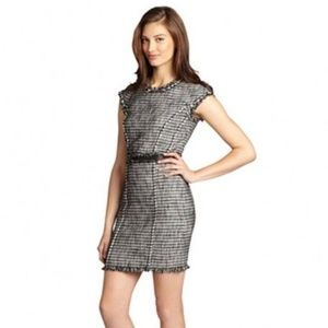 Rebecca Taylor Tweed Shift Dress Leather Trim Sz4
